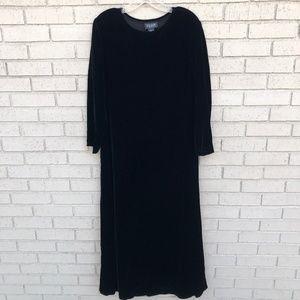 VTG Eileen Fisher Black Velvet Dress - Medium